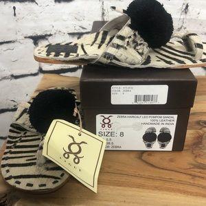 Figue Shoes - Figue Zebra Haircalf Leo Pompom Sandal